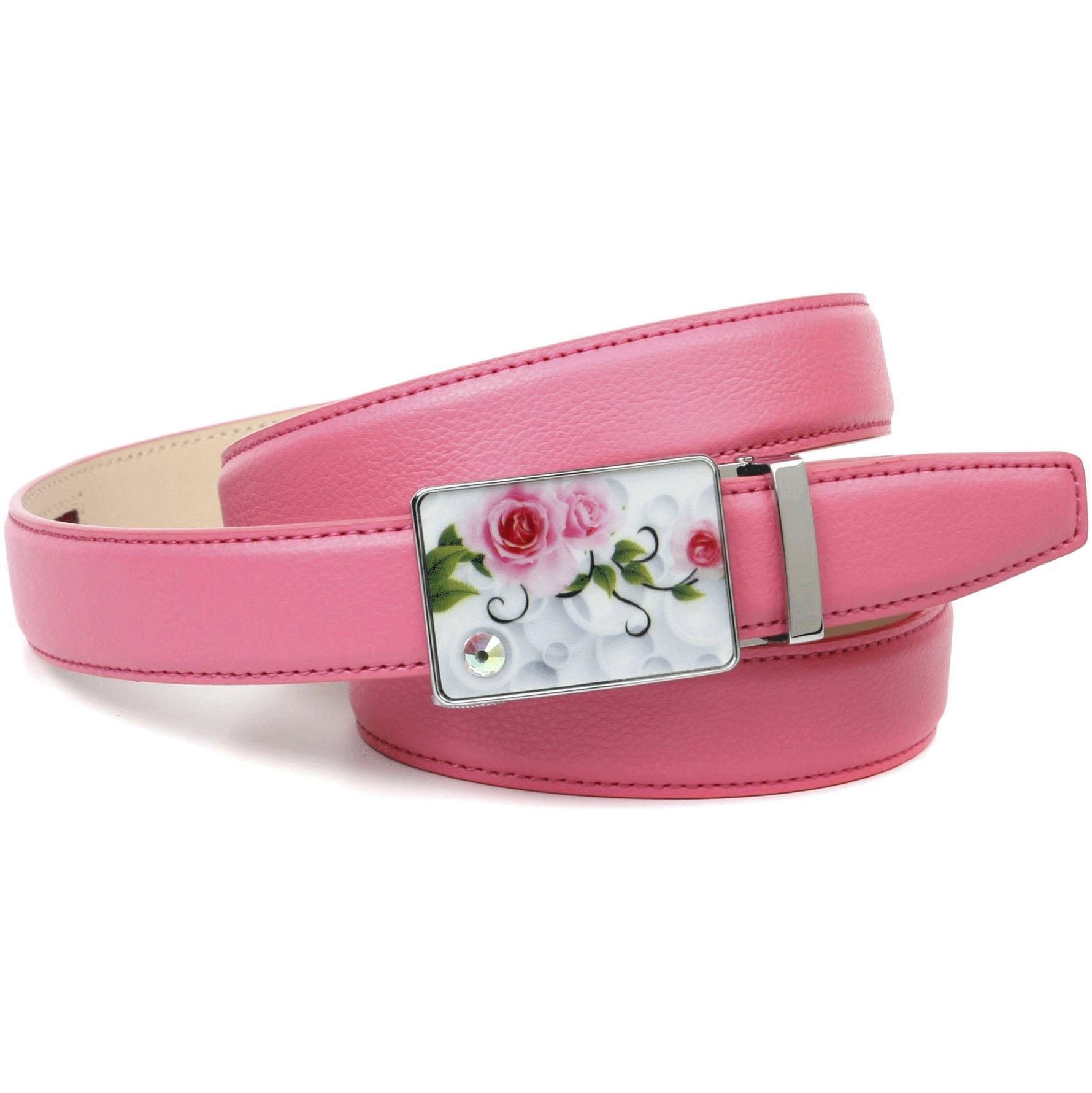 Anthoni Crown leren riem stijlvol in roze met zilverkleurige gesp nu online kopen bij OTTO