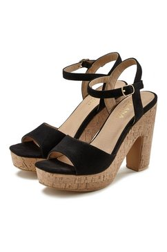 lascana highheel sandaaltjes met blokhak zwart