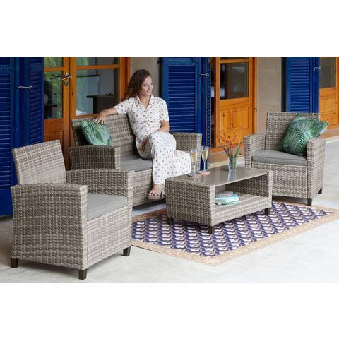 KONIFERA loungeset New Porto, 7-delig, 2-zitsbank, 2 fauteuils, tafel 90x47 cm, poly-rotan