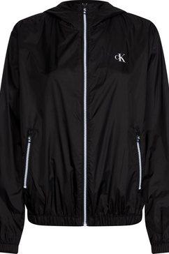 calvin klein blouson »large ck logo hooded zip through« zwart