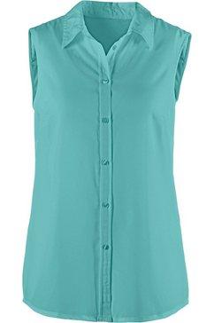 classic basics mouwloze blouse met een iets afgeronde zoom groen