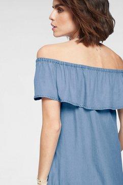 tamaris off-shoulderjurk blauw