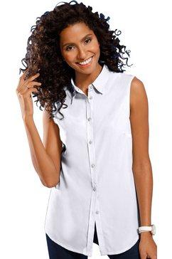 classic basics mouwloze blouse met een iets afgeronde zoom wit