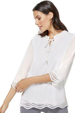 classic inspirationen blouse met kant onderlangs wit