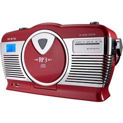 lenco retro-radio »iscd-33« (fm-tuner) rood
