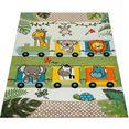 paco home vloerkleed voor de kinderkamer diamond 635 3d-kinderen design met speelse dierentuindieren motief, kinderkamer groen