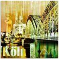 artland print op glas keulen skyline abstracte collage (1 stuk) geel