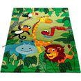 paco home vloerkleed voor de kinderkamer diamond 638 korte pool, 3d-design jungle dieren, kinderkamer groen