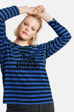 samoon t-shirt lange mouw ronde hals »longsleeve mit letter-print« blauw