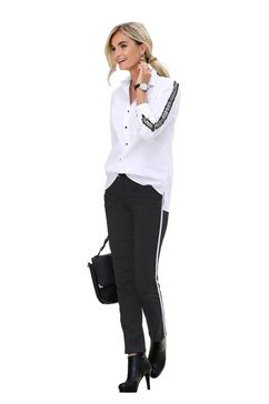 creation l blouse met lange mouwen wit