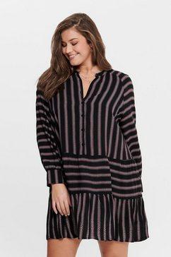 only carmakoma gestreepte korte ronde jurk zwart
