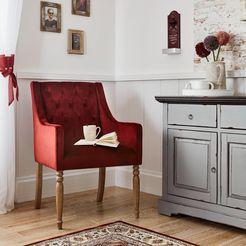 home affaire stoel tij met mooie bekleding en massieve berkenhouten poten rood