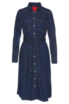 s.oliver denim jurk met linnen blauw