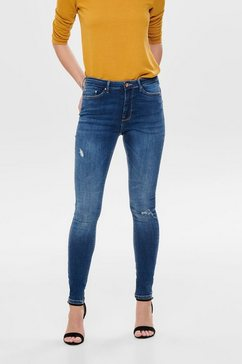 only onlypaola hw skinny fit jeans destroyed blauw