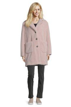 betty barclay jas van imitatiebont met reverskraag roze