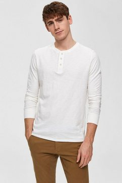 selected homme shirt met lange mouwen »ben overdye ls split neck tee« wit