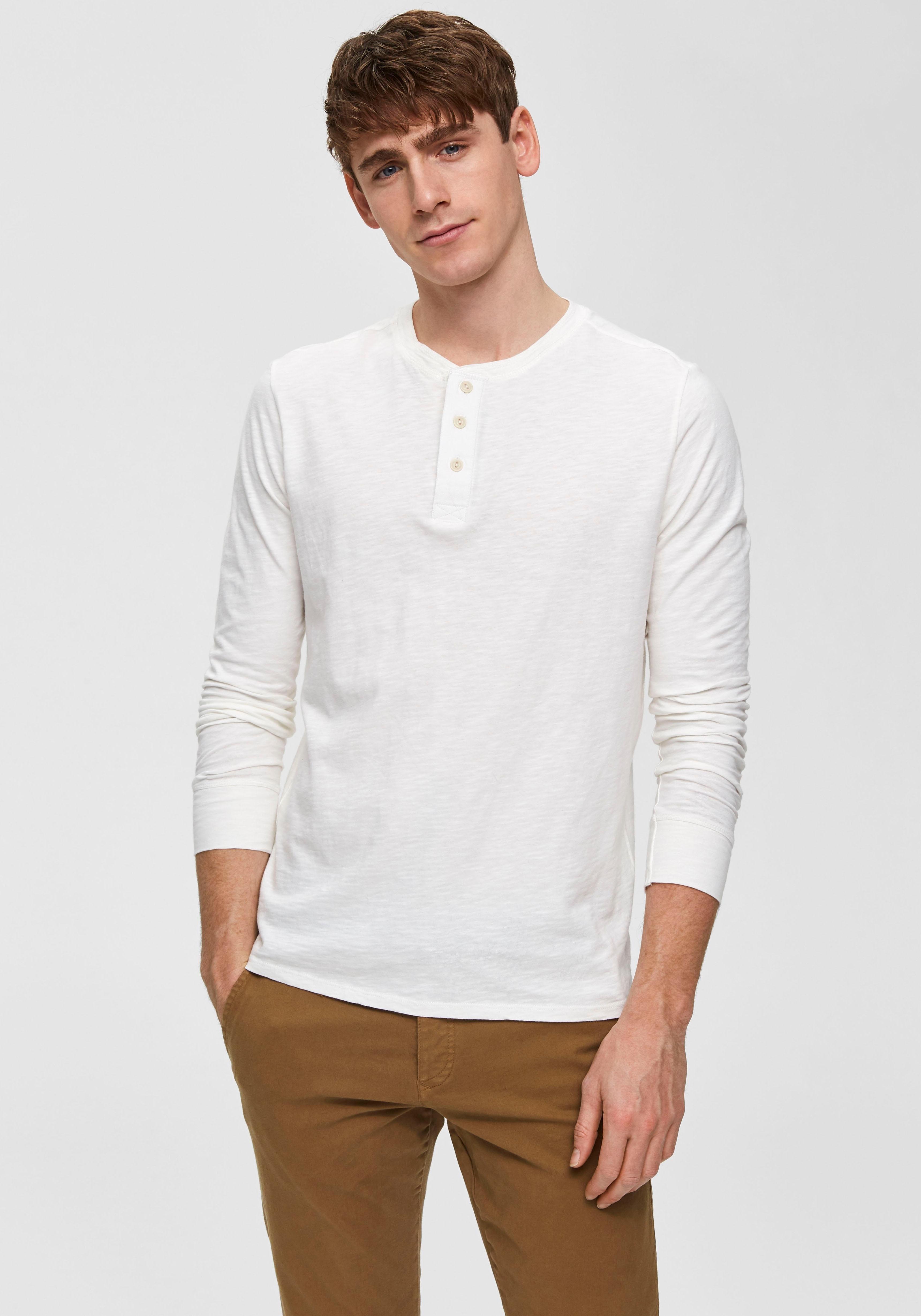 Selected Homme shirt met lange mouwen »BEN OVERDYE LS SPLIT NECK TEE« online kopen op otto.nl