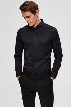 selected homme overhemd met lange mouwen »slim sel-pelle shirt« zwart