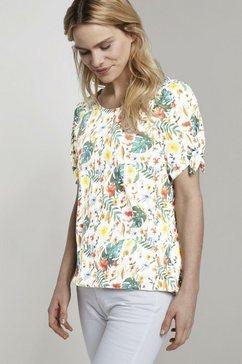 tom tailor t-shirt »carmen t-shirt mit blumenprint« wit