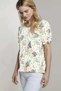 tom tailor t-shirt met carmenhals en bloemenprint wit