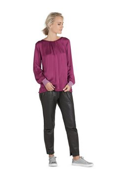 public blouse met lange mouwen en luiprint »mit raffung« paars
