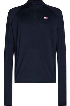 tommy sport runningshirt »ls training logo top« blauw