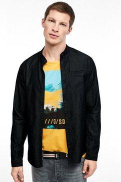 q-s designed by slim: minimalistisch stretchoverhemd zwart