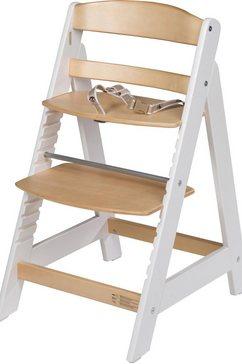 roba kinderstoel meegroeistoel sit up iii, naturel-wit houten wit