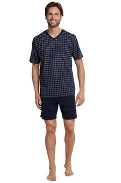 schiesser shortama geruite korte pyjama (set) blauw