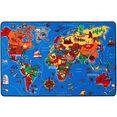 primaflor-ideen in textil vloerkleed voor de kinderkamer wereldkaart speelkleed, motief wereldkaart, kinderkamer blauw