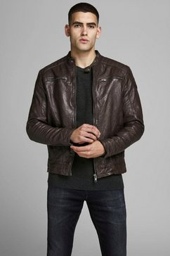 jack  jones leren jack »liam leather jacket« bruin