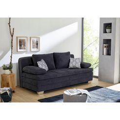 inosign bedbank met slaapfunctie en bedkist, geschikt als volwaardig bed, met voortreffelijk zit- en ligcomfort, met stevig dichtgenaaide topmatras van koudschuim blauw