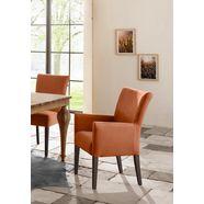 home affaire stoel met armleuningen king poten van massief beuken, wengékleurig gelakt oranje