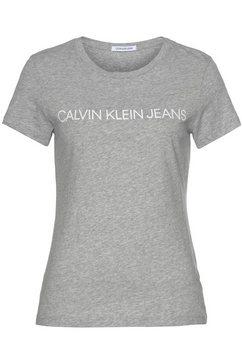 calvin klein t-shirt core institutional logo slim fit tee met calvin klein-logo-opschrift grijs