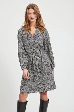 object strikkoord taille blousejurk grijs