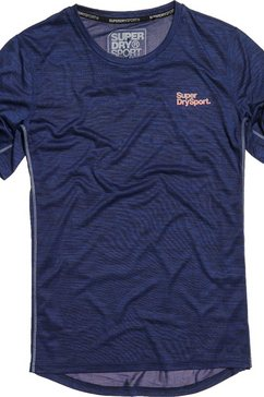 superdry sport t-shirt »training tee« blauw