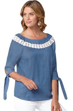 ambria blouse in denim-look blauw