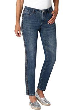 ambria jeans met galons voorzien van dwarsstructuur en glanselementen blauw