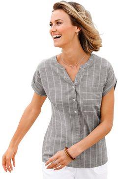 casual looks blouse in iets gemêleerde linnen-look bruin