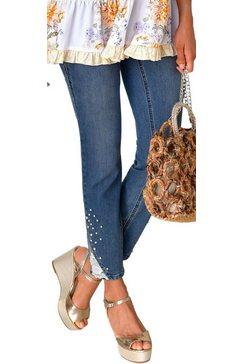 ambria jeans met geervormige inzetten opzij blauw