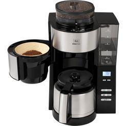 melitta »aromafresh therm 1021-12 schwarz« koffiezetapparaat met maalwerk zilver
