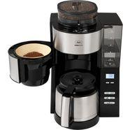 melitta koffiezetapparaat met maalwerk aromafresh therm 1021-12 zwart, 1,2 l zilver