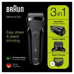 braun »series 3 shavestyle 300bt« elektrisch scheerapparaat zwart