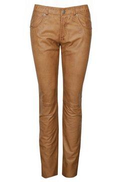 jcc leren broek 5-pocket »mandy long« bruin