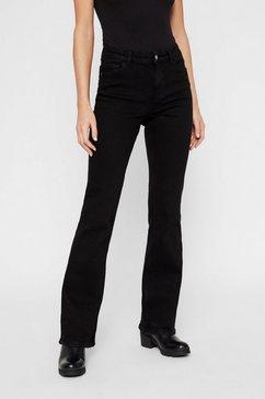 pieces mid waist flared jeans zwart