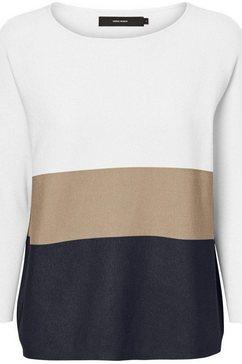 vero moda trui met ronde hals »vmnellie glory« wit