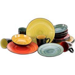 creatable combi-servies samoa met de hand geschilderde spiraaldecoratie (set, 16-delig) multicolor