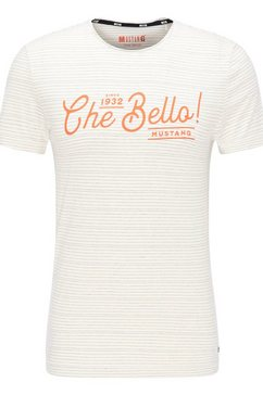mustang t-shirt »aaron c stripe + aw« wit