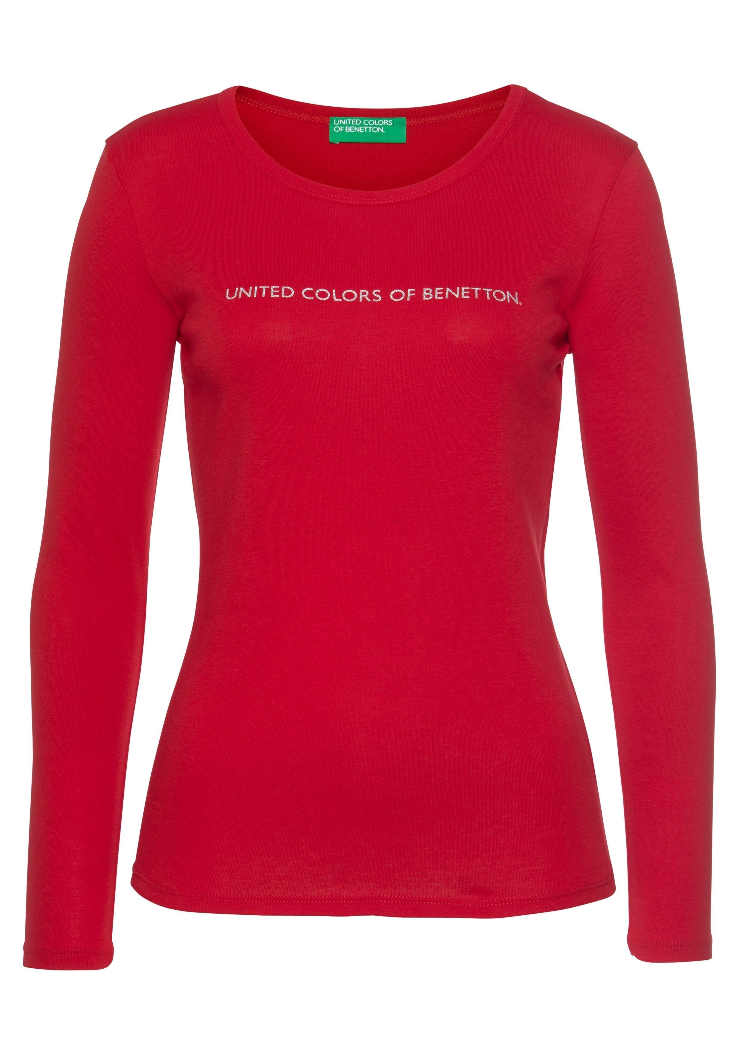 United Colors of Benetton shirt met lange mouwen met zilver- of goudkleurige glitter-labelprint online kopen op otto.nl