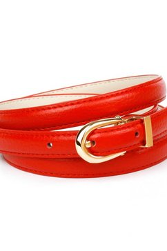 anthoni crown leren riem in een smal model, in fel rood rood